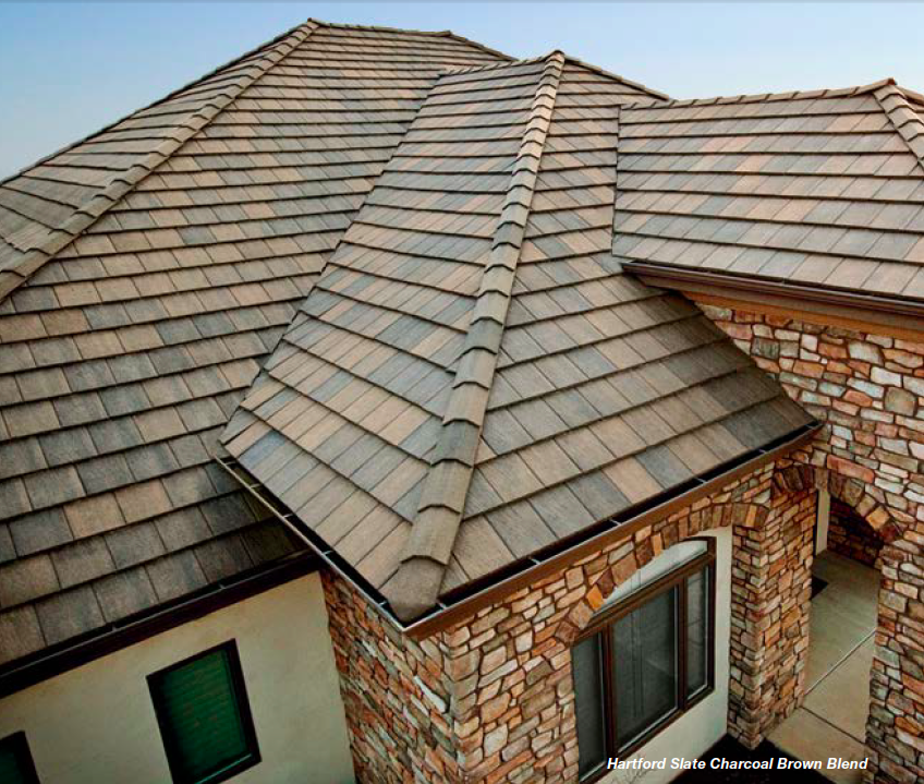Hartford Slate Charcoal Blend Hartford Slate S Surface Texture Emulates The Surface Of Natural Slate Th Concrete Roof Tiles Corrugated Metal Roof Roof Tiles