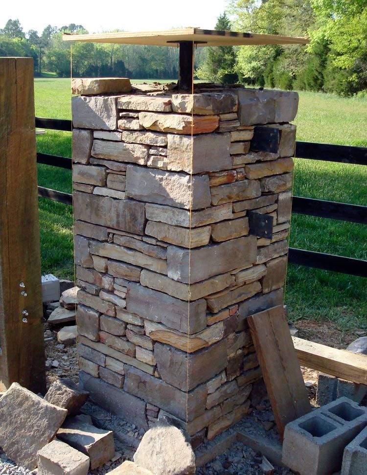 Stone Entrance Pillars : My latest project is the entrance to a horse farm just
