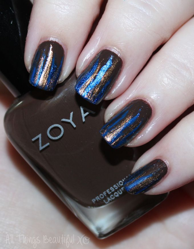Nail art using Zoya Sia, Desiree, Cinnamon, & Estelle to create Autumn Feathered Stripes Manicure in Blue & Brown on All Things Beautiful XO   www.allthingsbeautifulxo.com