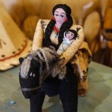 PUEBLO WOMAN ON HORSE WITH BABY by IRENE PIASCO - NAVAJO