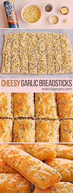 Photo of Homemade Cheesy Garlic Breadsticks Recipe – One Little Project