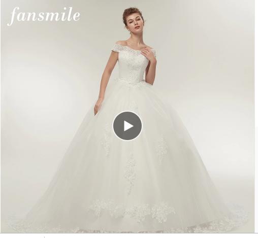 9af818ec66187 Fansmile Free Shipping Vintage White Long Train Wedding Dresses 2019  Vestidos de Noivas Plus Size Bling Bridal Gowns