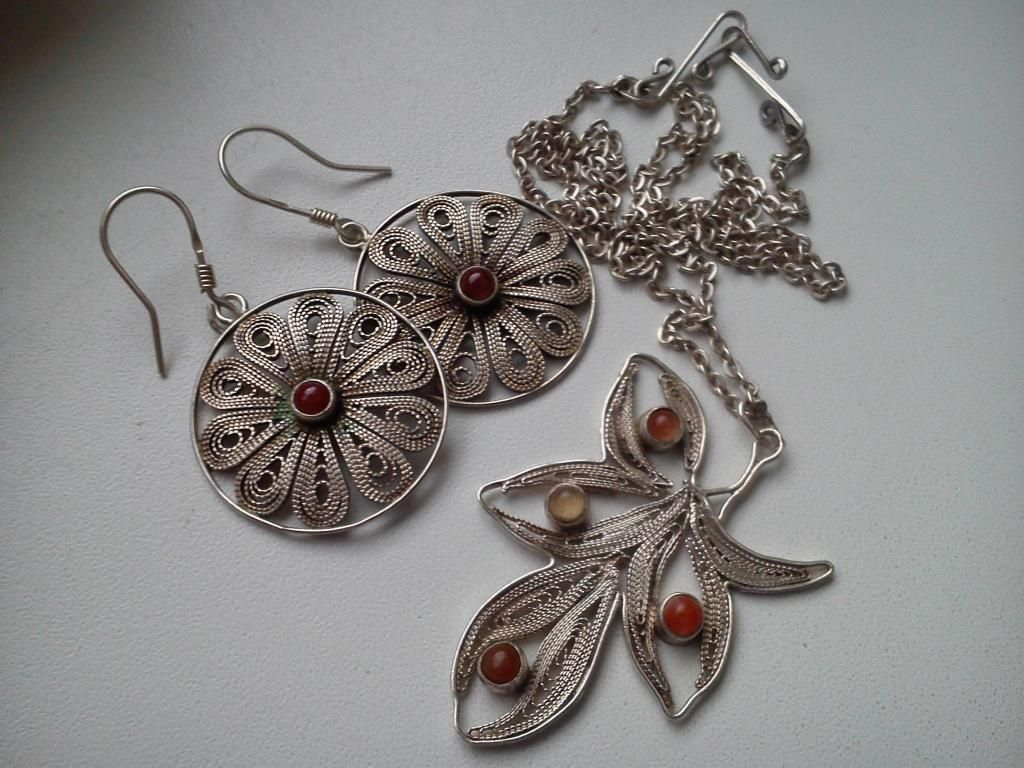 Filigranowy Naszyjnik I Kolczyki 4984928194 Oficjalne Archiwum Allegro Handmade Silver Jewellery Filigree Jewelry Handmade Silver