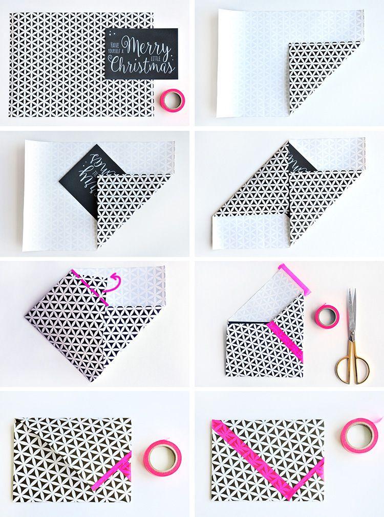 3 diy umschl ge aus geschenkpapier schwarz wei und. Black Bedroom Furniture Sets. Home Design Ideas