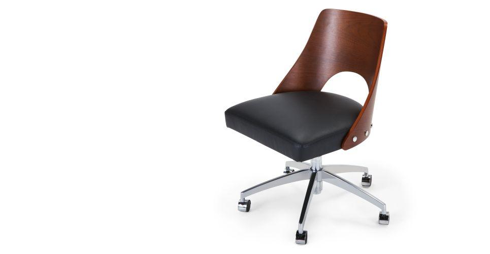 Hailey Une Chaise De Bureau Pivotante Noyer Et Noir Made Com A