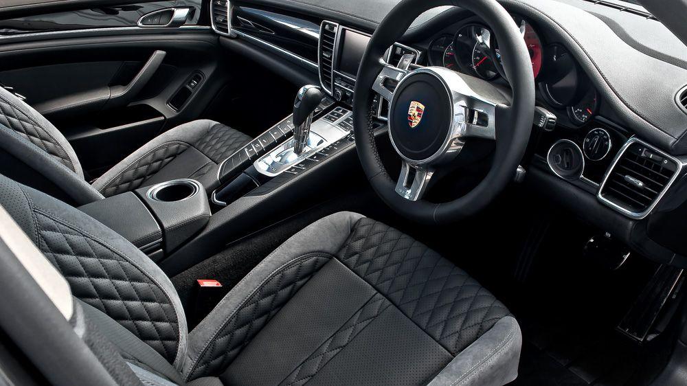 the kahn porsche panamera black grey interior with chrome inlays