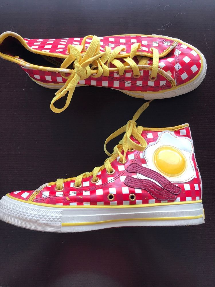 90e6a73ef11f81 Very Rare Converse Awesome Breakfast High Top Bacon   Egg - Red Yellow M 6