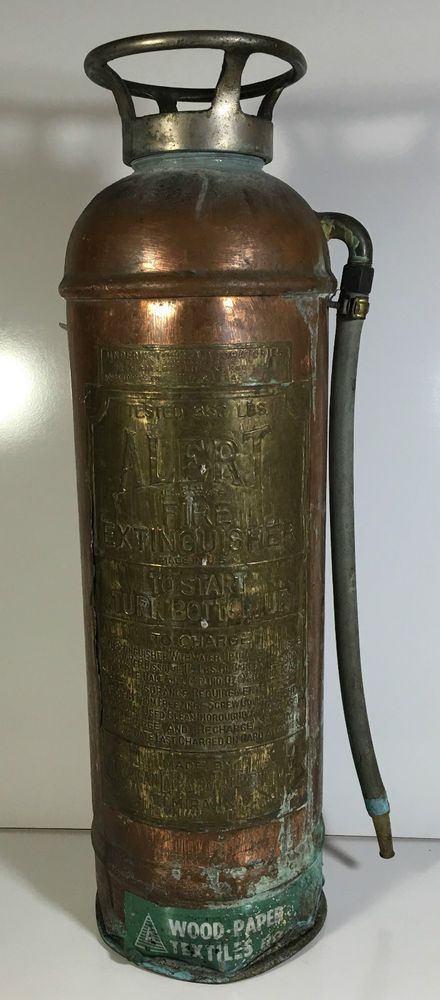 Antique Alert Fire Extinguisher Copper Brass Empty Decor Original Patina