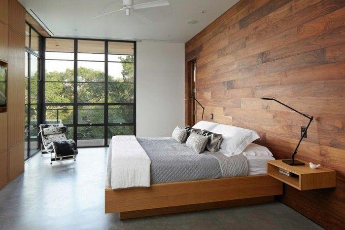 wandverkleidung holz schlafzimmer grauer bodenbelag hellgraue