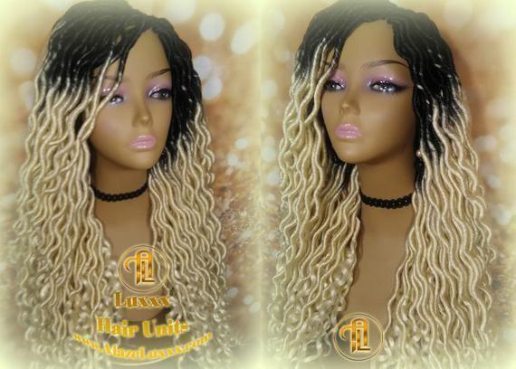 Blonde Ombre Dark Roots 613 Goddess Faux Dread Wig 1B Black  Marley Dred Lock Gy...#black #blonde #dark #dread #dred #faux #goddess #lock #marley #ombre #roots #wig