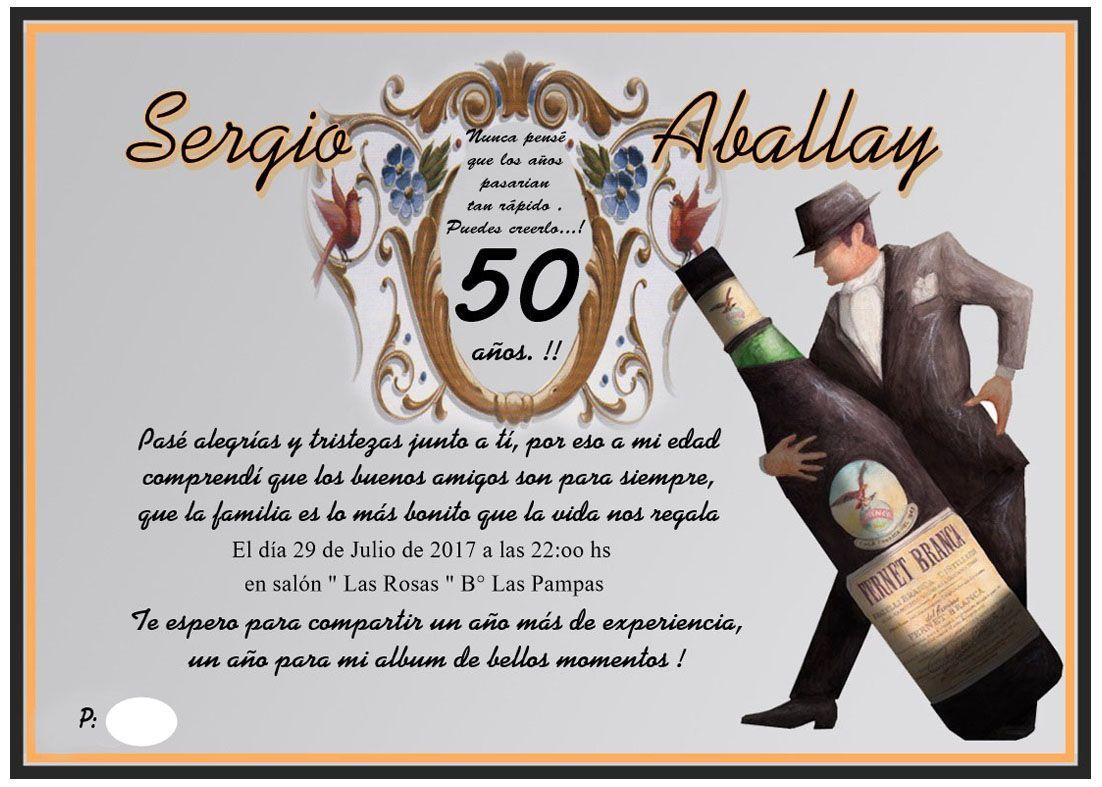 Hombre Mis Cincuenta Años Tango Y Fernet Invitaciones Y