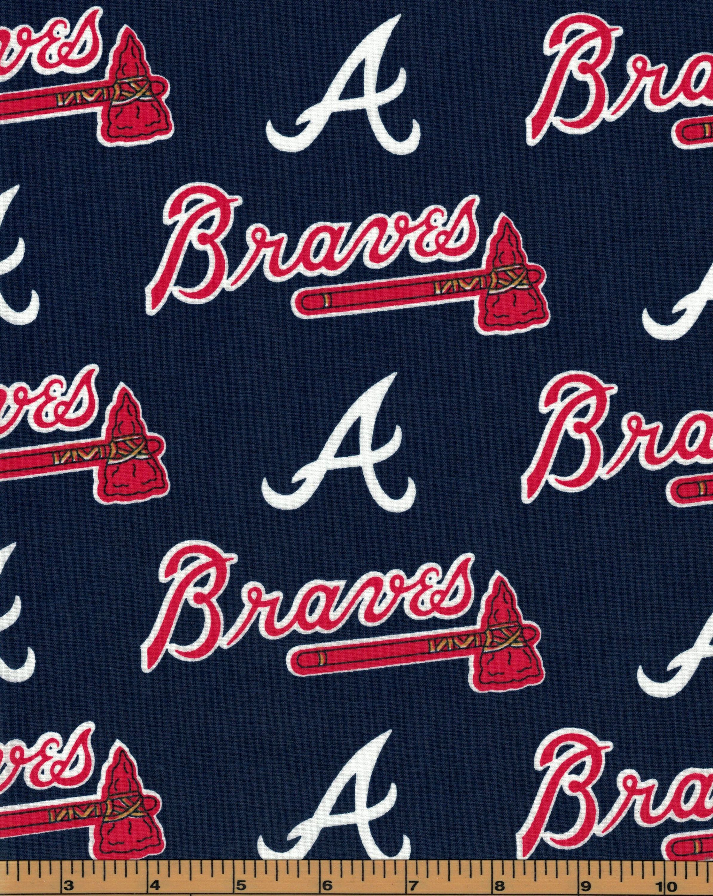 Atlanta Braves Baseball Fabric Mlb 100 Cotton High Quality Fabric By Fabric Traditions By Quiltsont Baseball Fabric Atlanta Braves Baseball Atlanta Braves