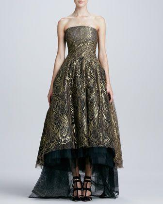 31ea49c92a4 Monique Lhuillier Feather Lace Strapless Ball Gown - Neiman Marcus ...