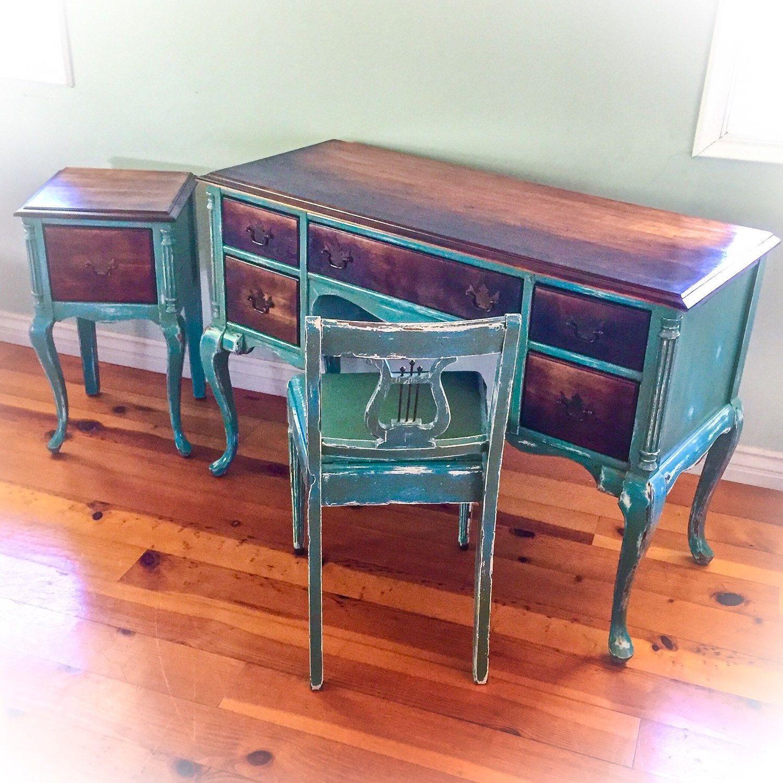 Antique desk - 3 Piece, Burnt Wood, Antique Desk, Chair & Side Table Set