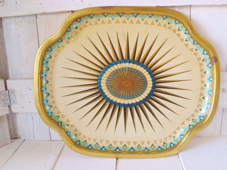 Vintage Baret Ware Tin Serving Tray 236 Leaves Modernest Art Deco Pattern