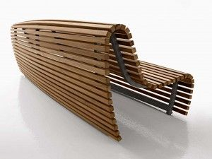 A Great Designed Timber Bench, In Teak Lathes With An Aluminum Frame,  Contradicts The