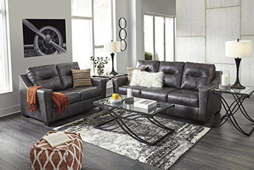 Best Kensbridge Contemporary Charcoa Color 100 Leather Sofa And Loveset Set Charcoal Living Rooms 400 x 300