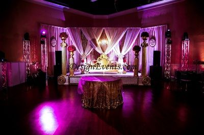 Gatsby Gold Sequin Backdrop With Chandelier Indian Wedding