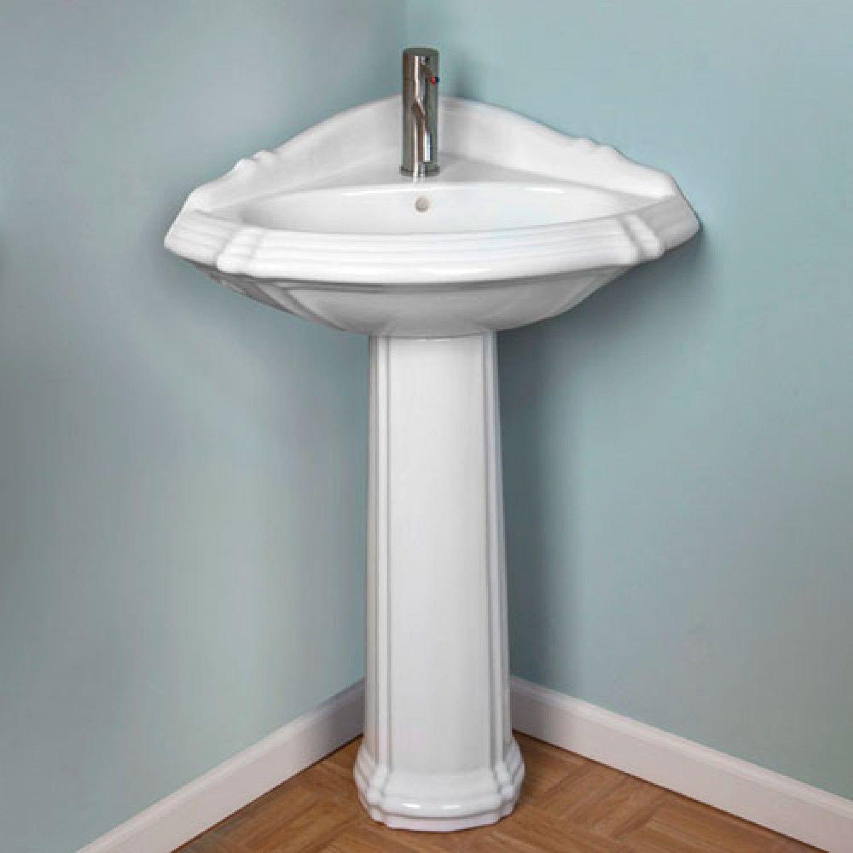 27 Regent Corner Porcelain Pedestal Sink  4 Centers