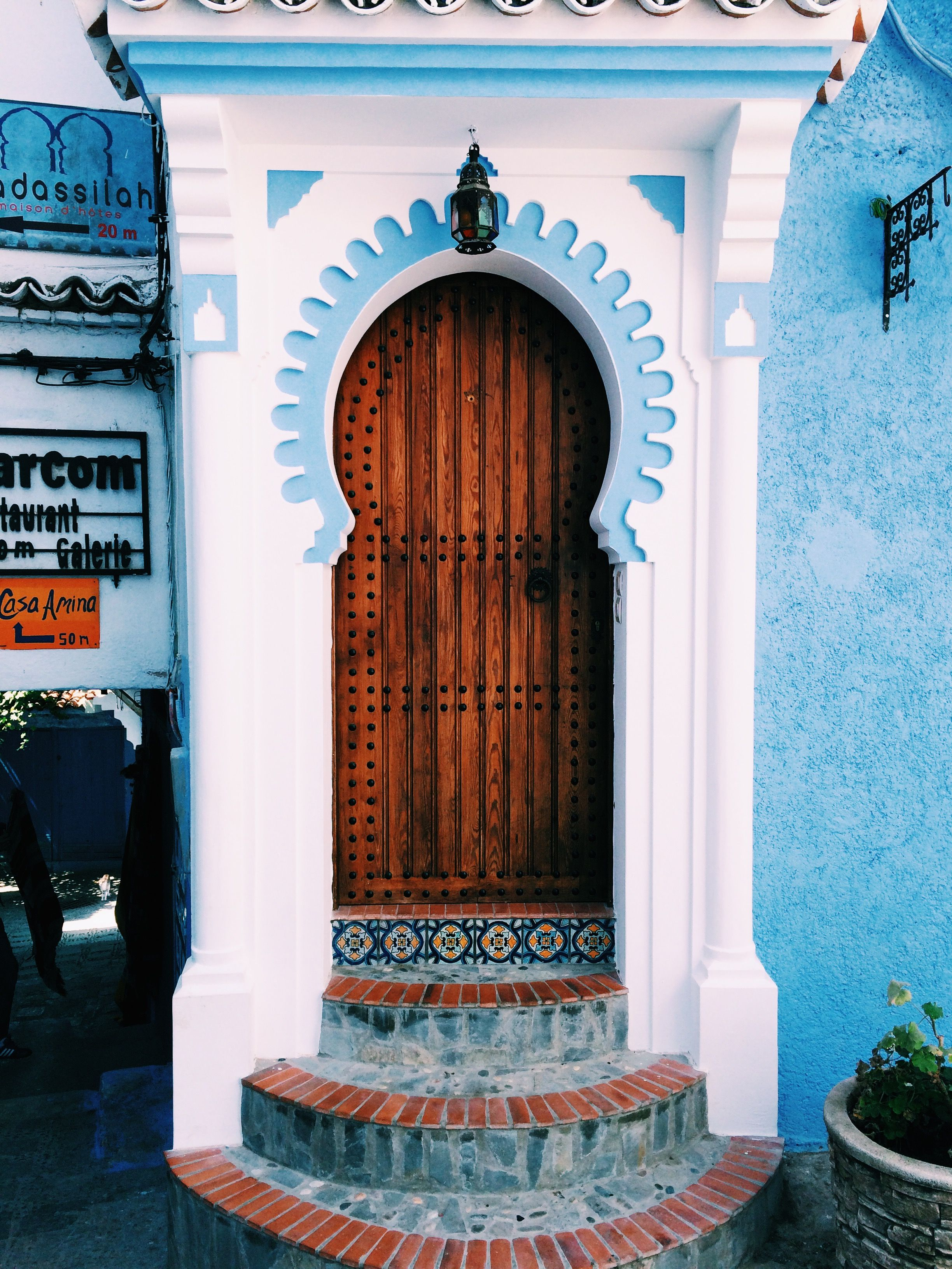 Colorful Blue White And Brown Entrance In Chefchaouen  Bellissima