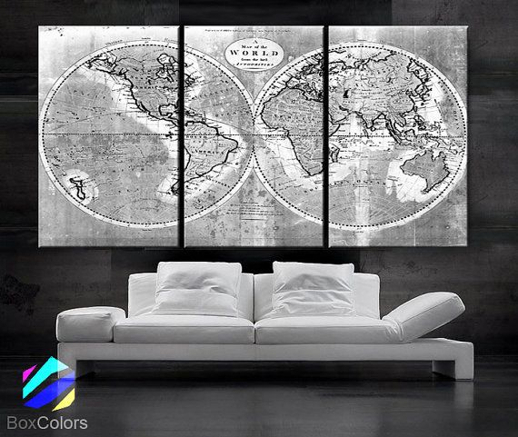 Large 30x 60 3 panels art canvas print world map old vintage large 3 panels art canvas print world map old vintage rustic black white gray wall decor home interior included framed depth gumiabroncs Choice Image