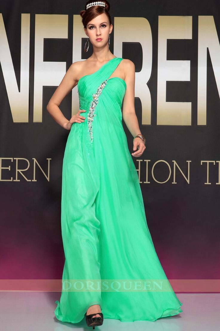 Cool Celebrity Dresses green one shoulder Christmas party dresses ...