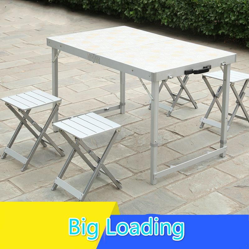Outdoor folding table chairs set suitcase portable desk c&ing table & Outdoor folding table chairs set suitcase portable desk camping ...