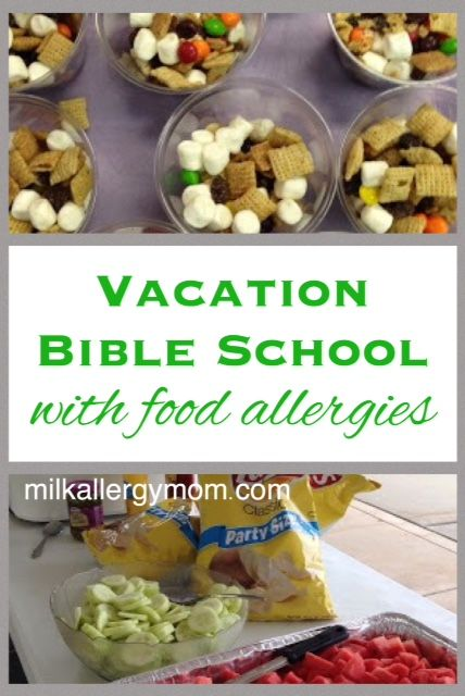 Great tips for an allergy safe vacation bible school but really the ideas can be use for a variety of events.  Get educated about food allergies and be a good friend.  :)  Click for tips from a veteran food allergy mom. Pin and share!