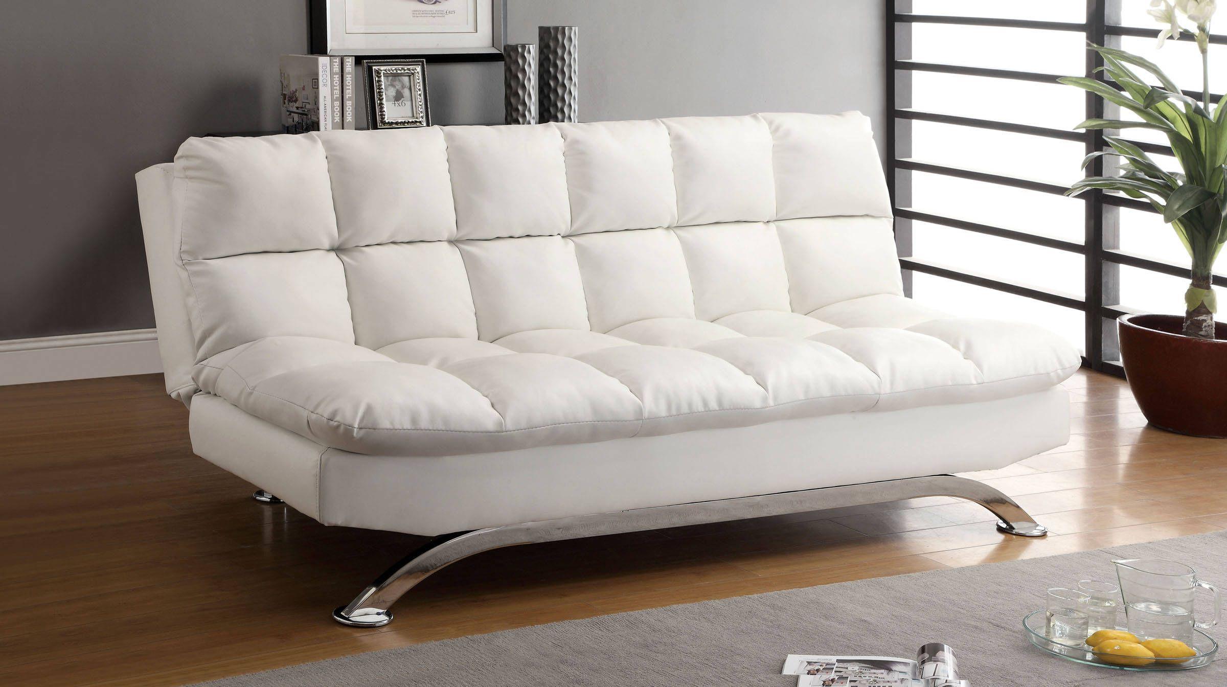 Furniture Of America Aristo White Futon Sofa Leather Sleeper