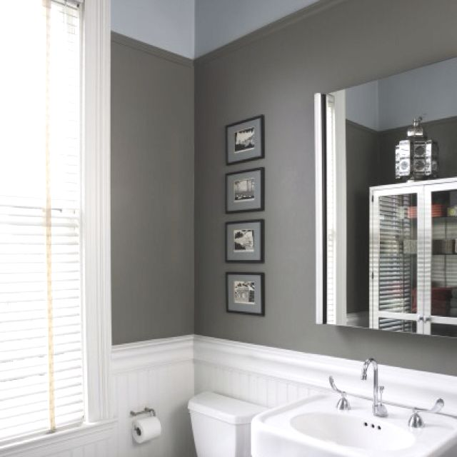 Bathroom idea! Love the gray paint color Decor ideas Pinterest