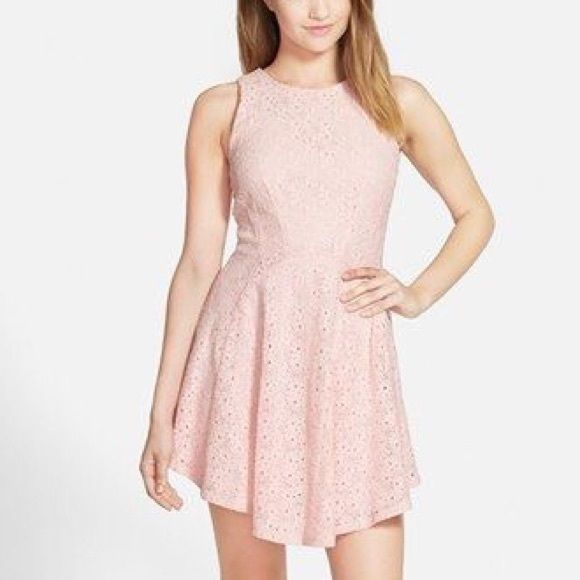 21a78eb1786d Soprano Blush Pink Lace Skater Dress Blush pink lace skater dress by  Soprano. Fitted at bodice and flared at the skirt. Very cute with ankle  strap sandals ...