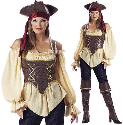 6 piece rustic pirate lady costume includes gold trimmed