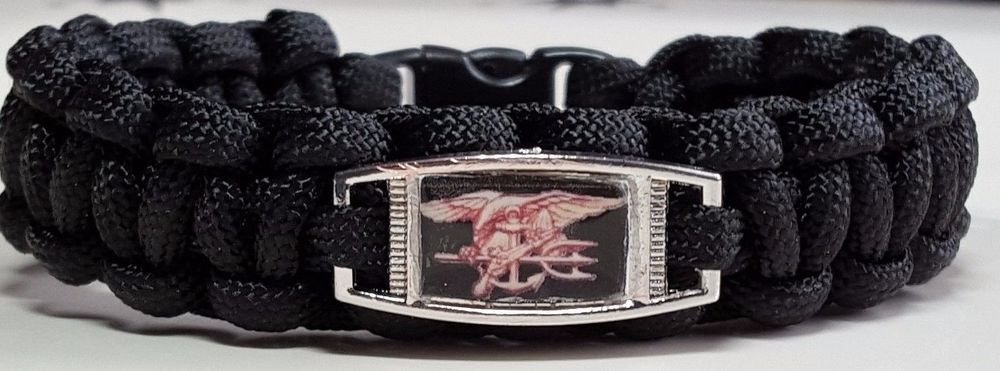 Navy Seals Black Paracord Bracelet With Gold Trident Special Warfare Insignia