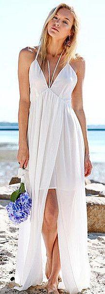 Plunging Split Maxi Dress Simple Beach Wedding Dress