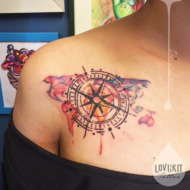 Ontario Map Compass Watercolor And Tattoo - Us map with white burd tattoo
