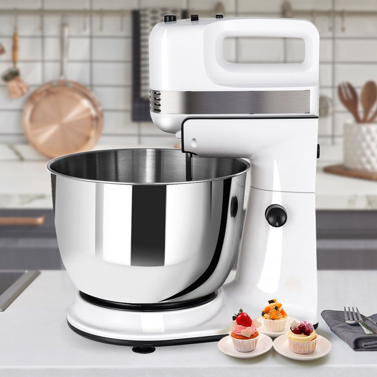 250w 5speed stand mixer w dough hooks beaters and