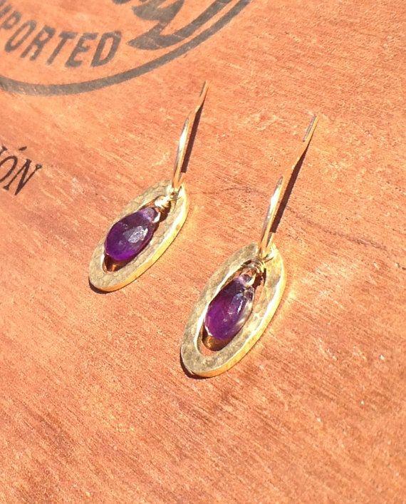 Vermeil Oval Dangle Earrings with Amethyst by nemesisjewelry, $25.00