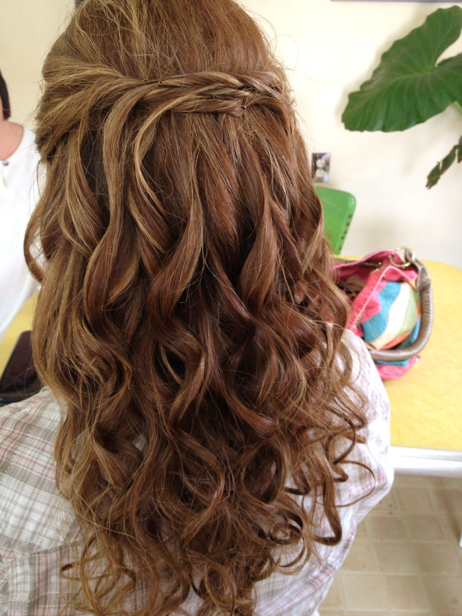 Loose curls with half up micro french twist Bridal updo bridesmaid