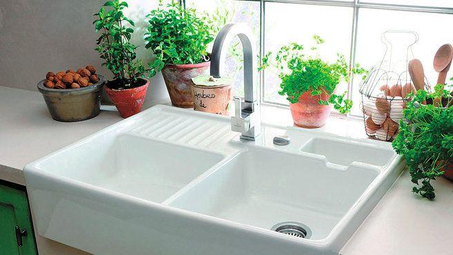 Évier en céramique blanche 2 bacs à poser Timbre Office Kitchens
