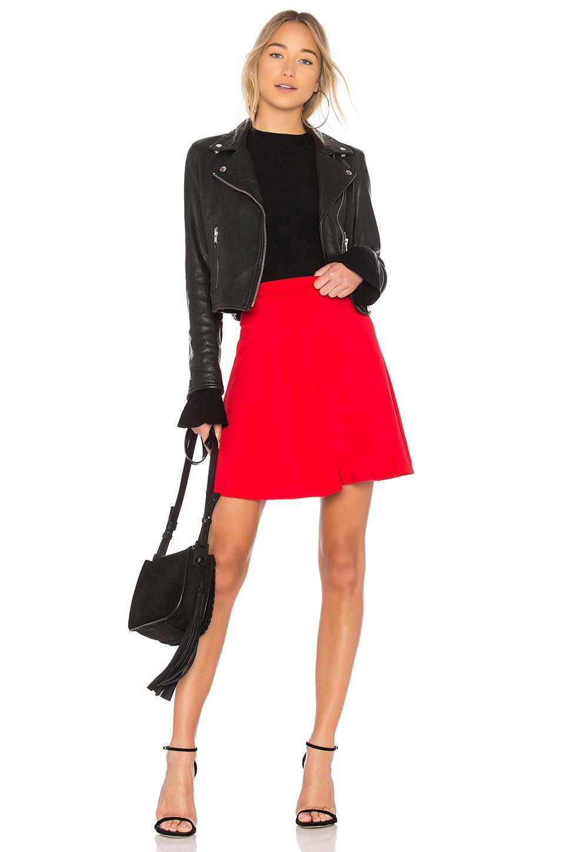 1412328c4b Susana Monaco High Waist Flare Skirt in Perfect Red   REVOLVE ...