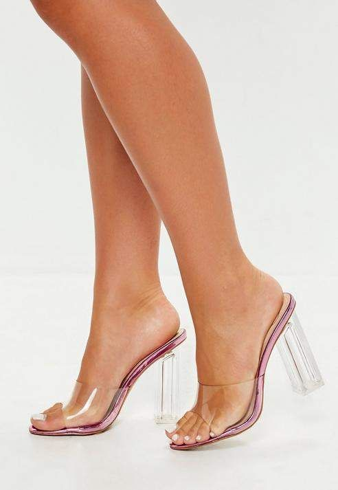 ab8e093d52a8 Pink Clear Block Heel Mules