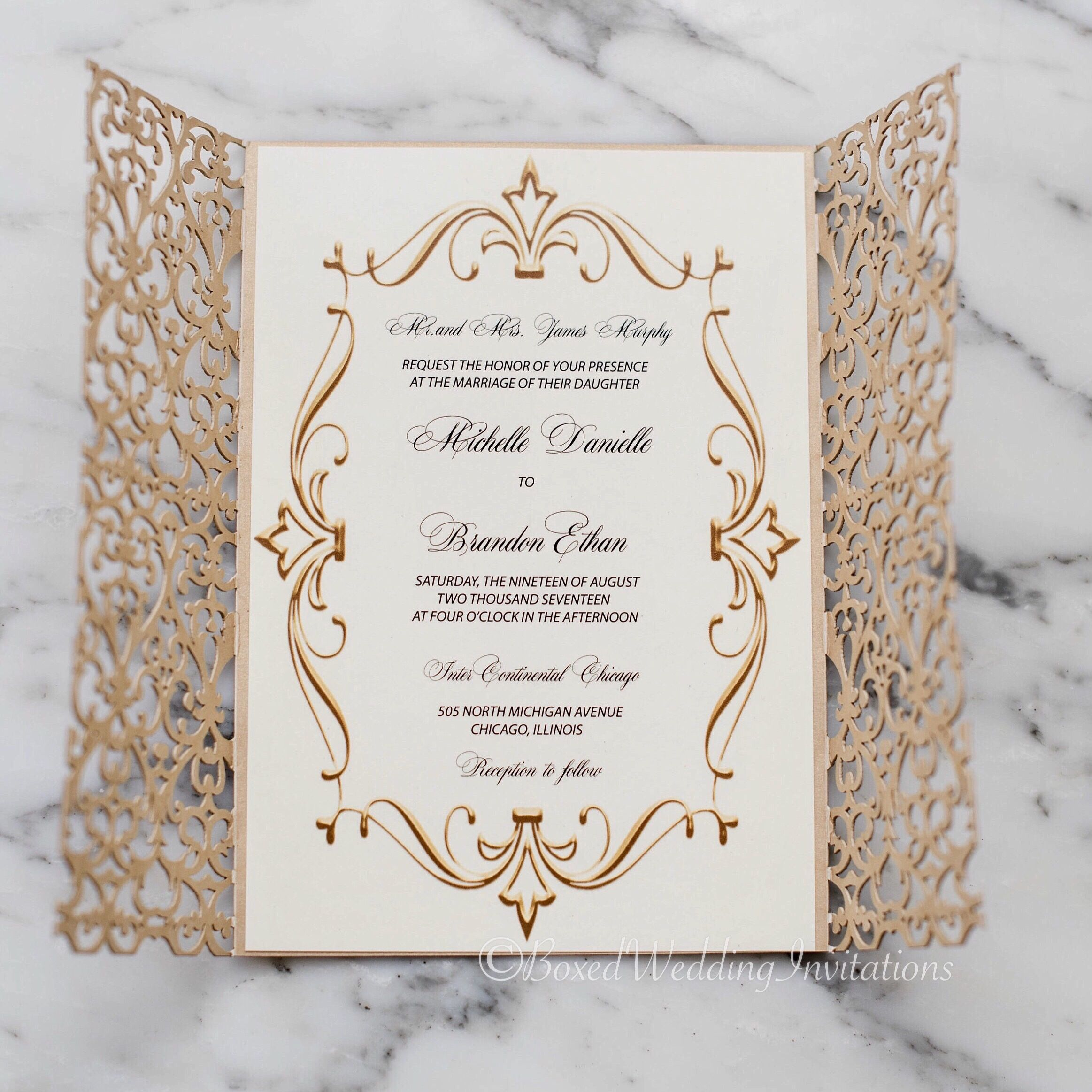 d948c9a02d8f This royal looking gold laser cut wedding invitation is perfect for the  glitz and glam bride!  goldinvitation