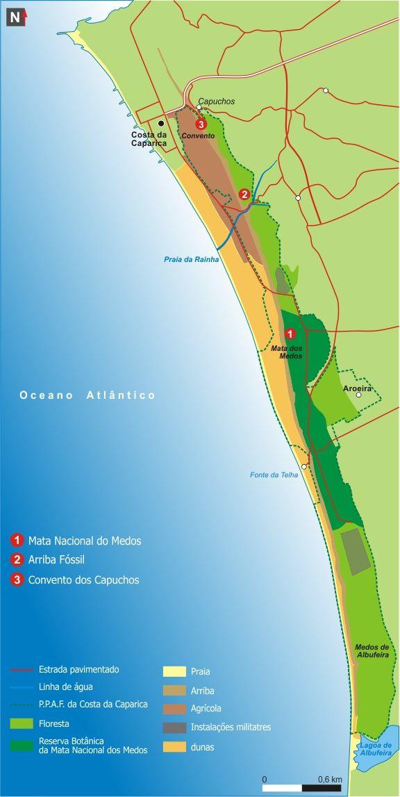 Ppafcc Mapa Com Legenda Arriba Fossil Da Costa Da Caparica
