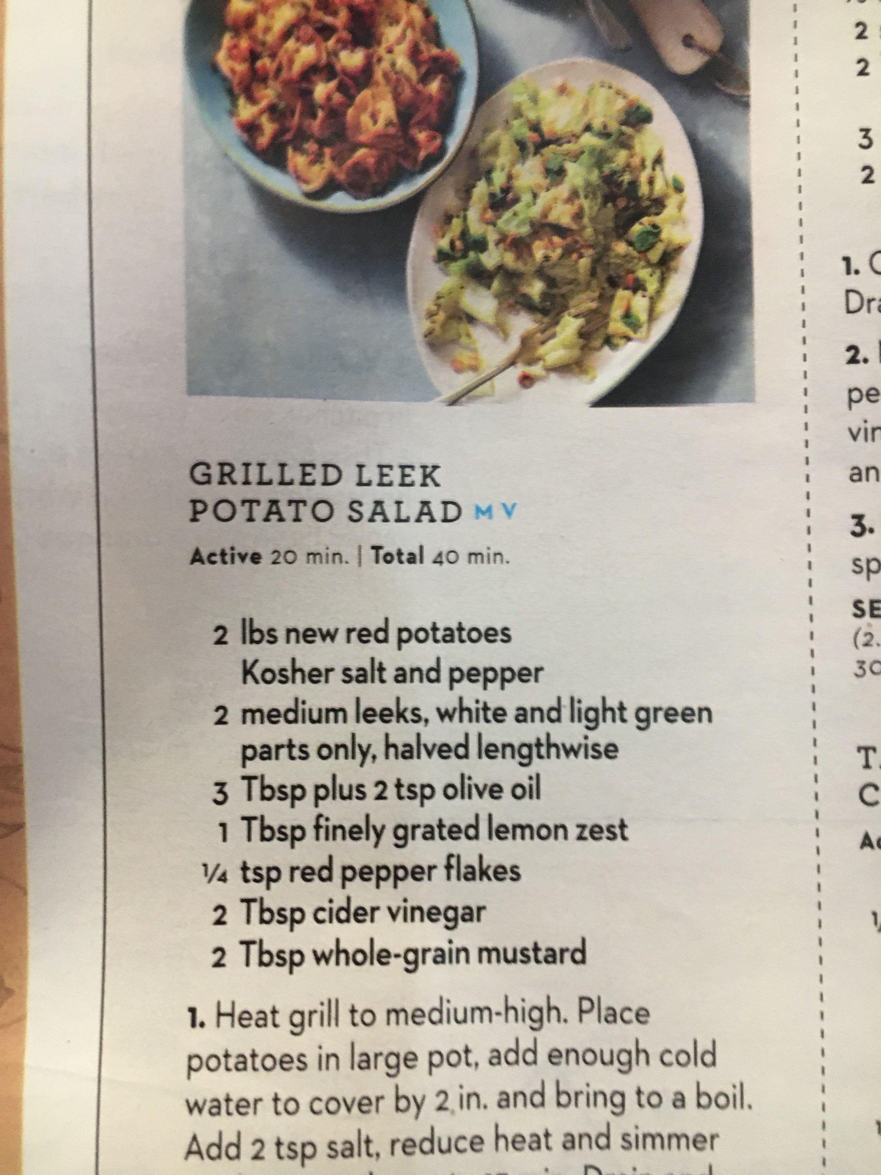 Leek Potato Salad No Mayo Camping Grilled Leeks Leeks Potato Salad