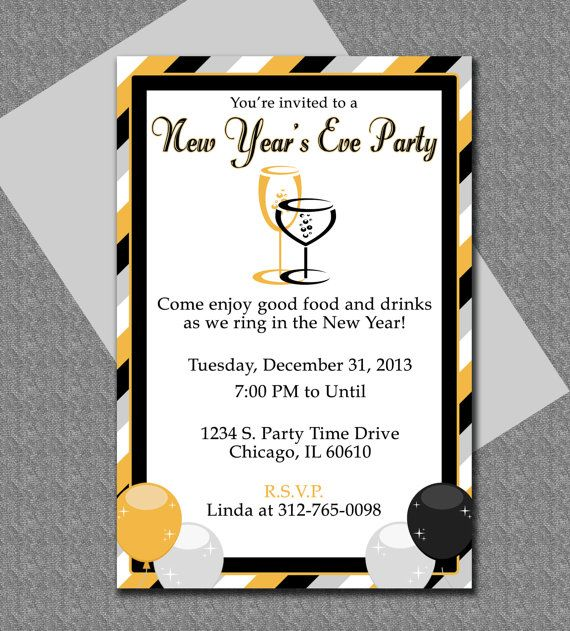 DIY Do It Yourself New Years Eve Party Invitation