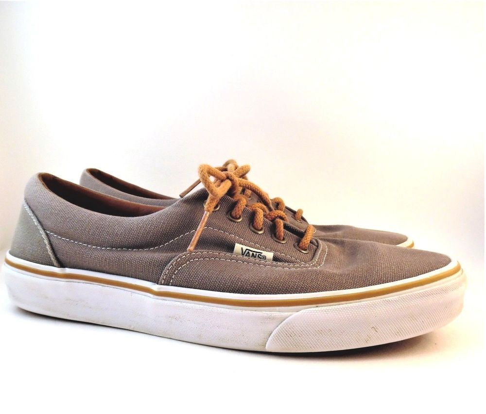6b64f0354b Vans Era Canvas Skate Shoes Frost Gray Brown Leather Accents Men 9 ...