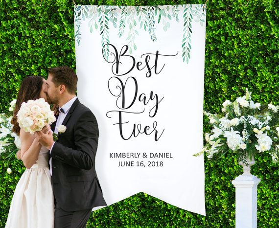 HUGE Wedding Backdrop Decor Personalized Names Hanging Sign Artist Canvas Banner Welcome Best Day Ever LBN700