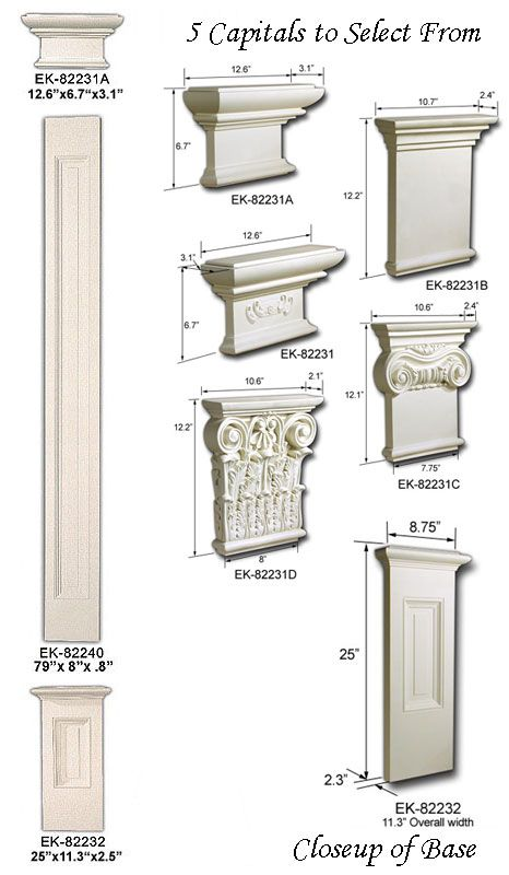 Pilaster set flat pillars that can be nailed or even for Crown columns fiberglass