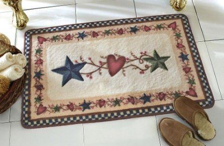 Amazon Com Country Primitive Stars Hearts Bath Rug By Collections Etc Home Kitchen Rugs