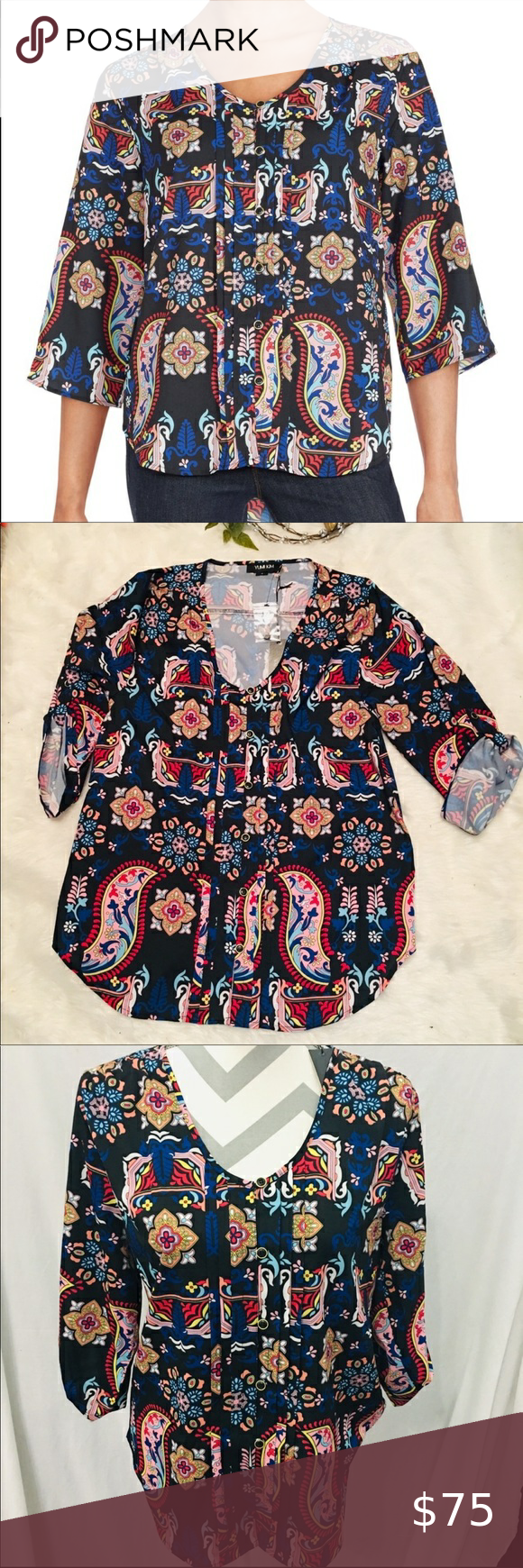 NWT!! Yumi Kim 3/4 Sleeve Floral Top Yumi Kim 3/4 Sleeve Floral Print Lightly High-Low Button Down Top  Beautiful, wearable art by Yumi Kim. Multicolor floral print on this button up front button blouse. V-neck with top button. Round high back neck hem. High-Low bottom hem. 3/4 Sleeve with Roll up tabs and bottoms on the sleeve. Can be worn rolled up, fully down, or tabbed. Beautiful and bright colors, bold and ready for warmer weather! Convertible to cooler wear with jeans and black boots.   Si #wearableart